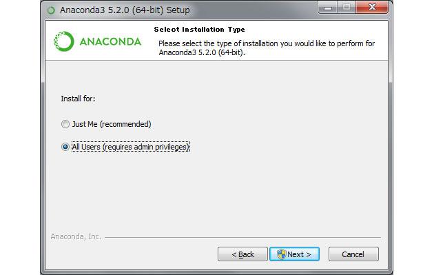 Anacondaを使用するユーザ情報