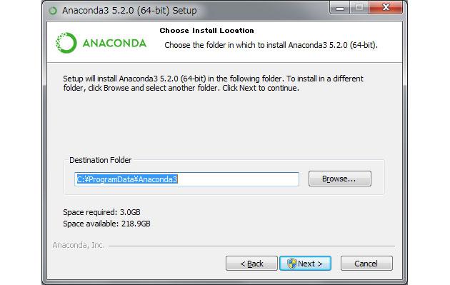 Anacondaのイストール先フォルダ