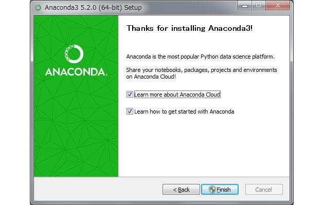 Anaconda インストール作業終了